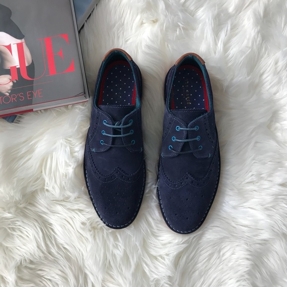 66742f46a TED BAKER Jamfro 6 Blue Suede Men s Oxford Shoes